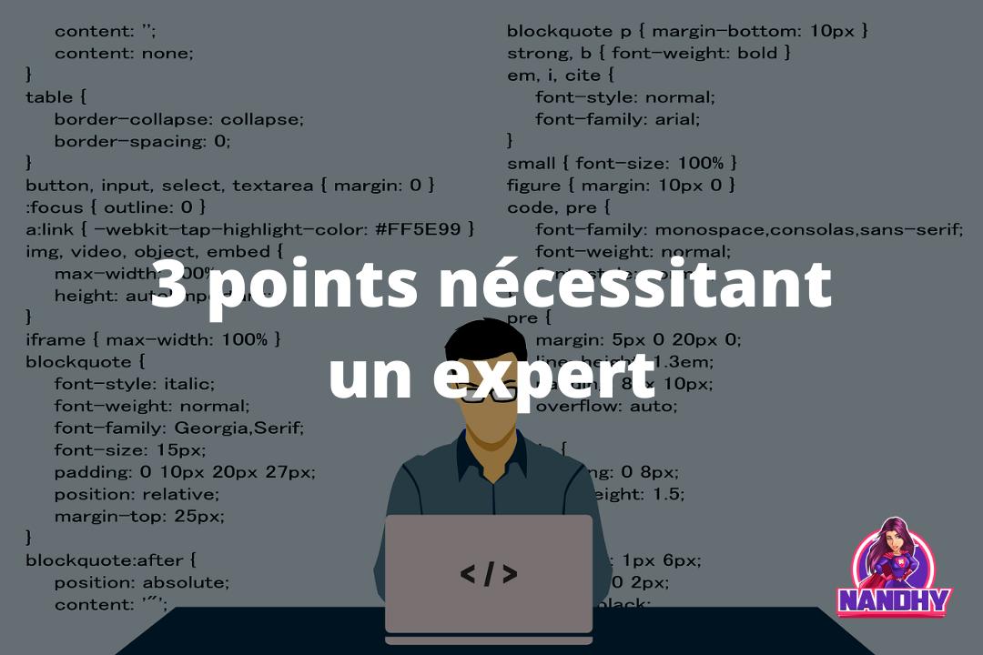 Points nécessitant un expert en hébergement web